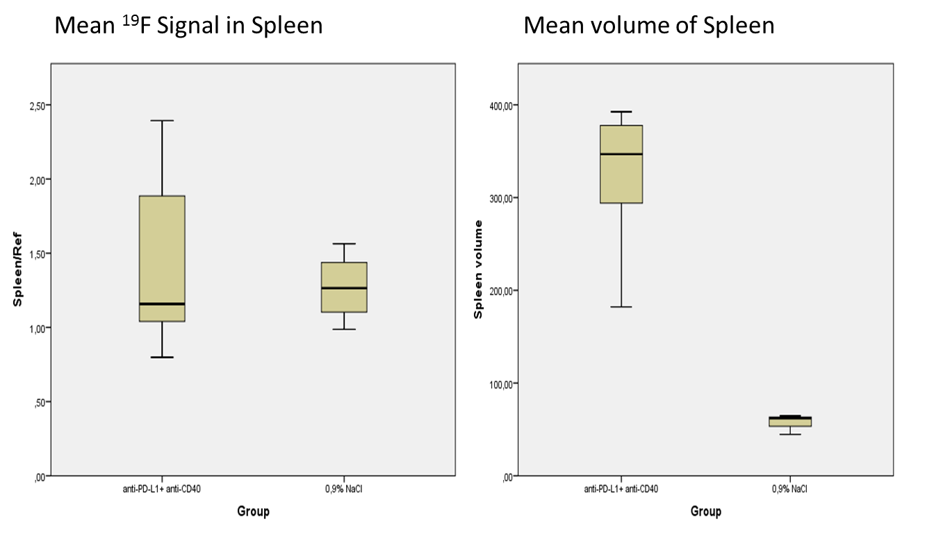 d73e7d0ac7ac5 Figure 2  a) Box plot of normalized tumor signal ROI values in both groups.  b) Box plot of tumor volume values in both groups