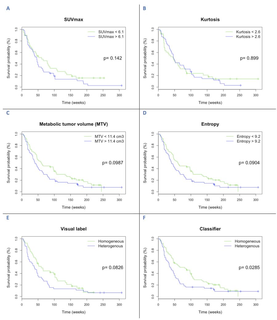 705e65df244050 Kaplan-Meier analysis for overall survival according to of PET-derived  parameters (a) SUVmax, (b) kurtosis, (c) metabolic tumor volume in ...